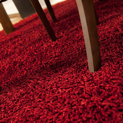 Crimson Silky Shag Rug - Softer and silkier than traditional shag rugs made from wool or synthetic fibers. Uniquely luxuriant look and feel due to custom specified blended yarn (50% rayon made from bamboo, 50% cotton).