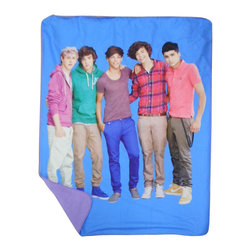 Jay Franco and Sons - One Direction Portrait 1D Blue Fleece Throw Blanket - Features: