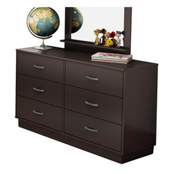 South Shore - South Shore Logik 6 Drawer Double Dresser in Chocolate Finish - South Shore - Dressers - 3359027 - The fashionably functional Logik Double Dresser is well adapted to today's requirements with of its ample storage space. It features antique finished metal handles and a platform base for a great contemporary look. Rounded corners and Smart Glide drawer slides with stops and built-in dampers provide added safety for your child. The warm chocolate finish completes the appeal of the Logik Double Dresser.