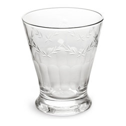 Rosanna - Etched Glass French Bistro Glass- Set of 4, By Rosanna - These handcut bistro glasses are perfect for wine, juice, or a cool glass of water. This form, lovely and delicate, can also be filled with a small bouquet to brighten up your spaces.