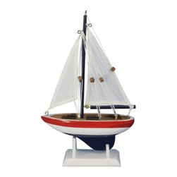 "Handcrafted Model Ships - USA Sailor 9"" - Small Sailboat Decoration - Not a model ship kit"