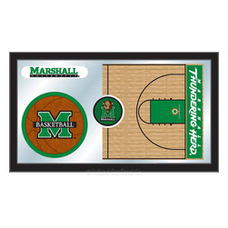 "Holland Bar Stool - Holland Bar Stool Marshall Basketball Mirror - Marshall Basketball Mirror belongs to College Collection by Holland Bar Stool The perfect way to show your school pride, our basketball Mirror displays your school's symbols with a style that fits any setting.  With it's simple but elegant design, colors burst through the 1/8"" thick glass and are highlighted by the mirrored accents.  Framed with a black, 1 1/4 wrapped wood frame with saw tooth hangers, this 15""(H) x 26""(W) mirror is ideal for your office, garage, or any room of the house.  Whether purchasing as a gift for a recent grad, sports superfan, or for yourself, you can take satisfaction knowing you're buying a mirror that is proudly Made in the USA by Holland Bar Stool Company, Holland, MI.   Mirror (1)"