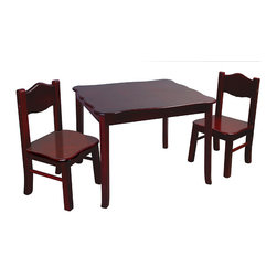 "Guidecraft - Guidecraft Classic Espresso Table & Chairs Set - Set includes a Children's table and two chairs.  Features double-bolt construction on table legs and angled chair legs to prevent tipping.  Table: 28""W x 24""D x 21""H. Each chair: 12.5""W x 12.5""D x 25""H. Seat height is 12""."