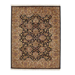 Frontgate - Clemson Area Rug - Made by Safavieh. 100% plush wool pile. Hand-tufted construction. Easy to care for. Our Clemson Area Rugs are inspired by an ancient Agra (home of the Taj Majal) design for uncommon beauty in black and golden tones. These rugs are a soft, elegant addition to any home.  .  .  .  . Imported. Rug designs will vary by size.
