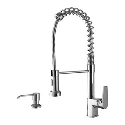 Ruvati - Ruvati RVF1216K1CH Commercial Style Pullout Spray Kitchen Faucet with Soap Dispe - This premium Ruvati kitchen faucet from the Cascada collection is constructed of solid brass giving it exceptional durability. The ceramic disc cartridge ensures drip-free functionality. The faucet can be installed into countertops up to two inches thick. Hot and cold water connection hoses are included.