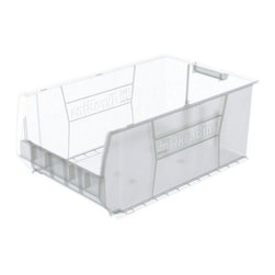 Akro-Mils - Super-Size AkroBin, Clear - Super-Size AkroBins offer you the versatility you need to make the most of your storage space and keep even large items in their place. SuperSize bins are available in 11 sizes, in red, blue or yellow. Control inventories, shorten assembly times and minimize parts handling. Heavy-duty polypropylene bins securely stack atop each other or sit on shelving. AkroBins are unaffected by weak acids and alkalis. Sturdy, one-piece construction is water, rust and corrosion proof.