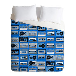 DENY Designs - Jennifer Denty Cobalt Retro Cassettes Duvet Cover - Turn your basic, boring down comforter into the super stylish focal point of your bedroom. Our Luxe Duvet is made from a heavy-weight luxurious woven polyester with a 50% cotton/50% polyester cream bottom. It also includes a hidden zipper with interior corner ties to secure your comforter. It is comfy, fade-resistant, and custom printed for each and every customer. Interested in a lighter duvet option? Check out our Lightweight Duvets!