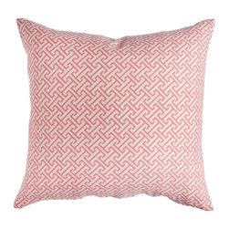 Caitlin Wilson Textiles - Coral Fretwork Pillowcase - Ever adorning the lands of China, this ancient fretwork pattern is made modern with bright coral and a touch of sparkle.