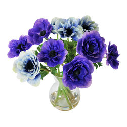 Jane Seymour Botanicals - Anemones in Glass Vase, 14 - Poppies symbolize the magic of dreams — and won't yours come true with beautiful blooms that stay fresh forever? This blue bouquet makes a  delightful statement anywhere in your decor.