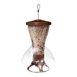 Opus - The Bird Shelter Squirrel Proof Feeder - Unique weight activated seed protection systems shuts of squirrels access to seed.