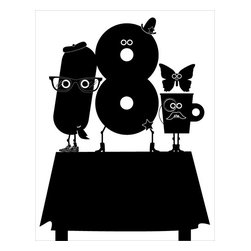 Hybrid-Home - 'Breakfast Bunch' Limited-Edition Print - Now you won't have to be sent to detention to enjoy a breakfast club all your own. Quite the cast of characters adorn this limited edition art print, designed by Dora Drimalas in a spirit of playfulness. This black silk screen print is a unique way to add energy to any room.