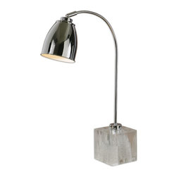 Uttermost - Uttermost Fabbrico Desk Lamp 29336-1 - Polished chrome plated metal with faux rock crystal foot and a pivoting shade. The shade is a polished chrome plated metal.