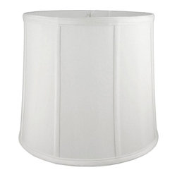 American Heritage Shades - Round Drum Lampshade in White (14 in. Diam x 14 in. H) - Choose Size: 14 in. Diam x 14 in. HLampshade Types. Shantung faux silk with off-white fabric liner. Hand made. Matching top, bottom and vertical trim. Enhances lamp and room decor. Made from polyester and fabric. Fitter in brass color. Made in USA. No assembly required