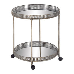 Magnificent Styled Metal Mirror Bar Trolly - Description: