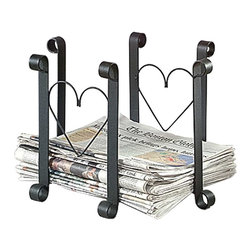 "Renovators Supply - Newspaper Holders Black Wrought Iron Newspaper Holder | 98329 - Keep old newspapers neat & handy to use as tinder. These wrought iron tinder holders are crafted by our blacksmiths in New England. Inside dimensions: 14"" long x 12"" high x 10 3/4"" deep."