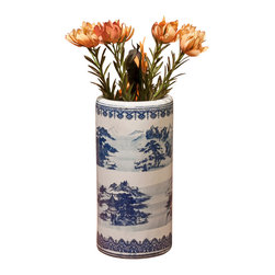 China Furniture and Arts - Blue & White Porcelain Umbrella Stand - Blue and white porcelain has been in the repertoire of Chinese ceramics for thousands of years. Along with tea it was a favorite import item of the British Empire in the 18th and 19th century. With its elegant landscape scenery design, this umbrella stand will be an eye-catching work of art in your foyer.
