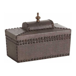 Arteriors - Arteriors Home - Venetian Hinged Coffer - DD2012 - This lidded coffer features shagreen embossed leather, brass nailhead trim and a finial top.