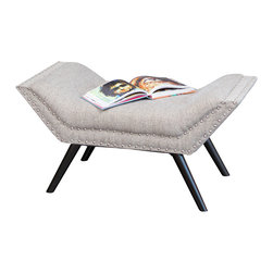Great Deal Furniture - Beverly Fabric Ottoman Bench, Grey - The Beverly fabric ottoman/bench is a contemporary piece that will easily add elegance to your home. Upholstered in grey fabric, this bench features slightly angled ends with a tufted top and nail studded accent that create a modern look. You can use this piece as an ottoman, bench or even as a footstool.