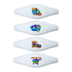 Carolina Hardware and Decor, LLC - Set of 4 Plane Train Car Boat Ceramic Pull Handle, Drawer Pulls - New ceramic cabinet, drawer, or furniture pull with mounting hardware included. Pull has standard three inch centers.  Can be wiped clean with a soft damp cloth. Great addition and nice finishing touch to any room!