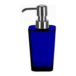 Countertop Bath Accessory - Liquid Soap Dispenser - 10oz, Blue - Unique colorful liquid soap dispenser holding 10oz of soap or lotion.  Perfect kids bathroom accessory or to add a beautiful punch of color to any space. This countertop dispenser has a durable chrome pump for long term use.  Made in Germany. Dispenser (W) 2.75in x (H) 6.75in.
