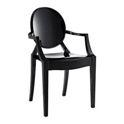 "LexMod - Casper Ghost Dining Armchair in Black - Casper Dining Armchair in Black - Combine artistic endeavors into a unified vision of harmony and grace with the ethereal Casper Chair. Allow bursts of creative energy to reach every aspect of your contemporary living space as this masterpiece reinvents your surroundings. Surprisingly sturdy and durable, the Casper Chair is appropriate for any room or outdoor setting. Pure perception awaits, as shining moments of brilliance turn visual vacuums into new realms of transcendence. Set Includes: One - Casper Armchair For Outdoor Use, No Assembly Required, Injection Molded, Stackable, Sturdy Polycarbonate Overall Product Dimensions: 22""L x 21""W x 36""H Seat Height: 18.5""H Armrest Height: 26""H - Mid Century Modern Furniture."