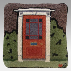 Thorndike Mills - Susan Branch Country House Pillow - Door - SB-0076 - Shop for Pillows from Hayneedle.com! The Susan Branch Country House Pillow - Door has a charming design of a sweet country doorway on a warm gray background. This luxurious pillow is constructed of genuine wool and is hand-hooked for high quality at a density of 90 lines per square foot. It measures 18L x 18W inches and features a velveteen backing and a polyester fiber insert. A built-in 15-inch zipper makes it easy to remove the cover for cleaning as needed. Designed for indoor use in residential or commercial settings.About Thorndike MillsRooted in a proud Armenian family tradition Thorndike Mills developed in Boston during the first half of the 20th century. Their dedication to the quality traditions of Armenian rug-making remains true today. With an emphasis on exact specifications materials that meet high levels of quality and rigorous construction standards they're a top producer of braided rugs for homes and businesses across America. Thorndike Mills is the only manufacturer who still produces true cloth braided rugs made with three strands woven together and then wrapped; the next best option would be a handmade rug. The true quality of the rugs lies in the little details like hidden joints guaranteed color matching perfect symmetry of design and durable lock-stitch sewing. Thorndike Mills is still owned today by the third generation of the founding family.About Susan BranchSusan Branch is a self-taught artist from the Martha's Vineyard area who creates delicate organically inspired works that celebrate nature and simplicity. She has previously been featured in magazines including Country Living and American Patchwork and Quilting. Susan is best known for her beautiful watercolor illustration work which graces her 14 published books as well as a line of china stationery pajamas and her popular yearly calendar.