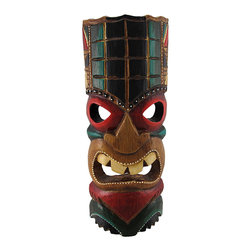 Zeckos - Brown Tiki Mask with Black, Green, Red Accents 11 In. - This brown tiki mask is hand crafted from wood and features black, green, and red accents. It measures approximately 11 inches tall, 4 1/2 inches wide, and has a hanger on the back. This mask looks great in your home or on your porch or patio, and it is a must-have for any tiki bar. It also makes a great gift for friends and family.