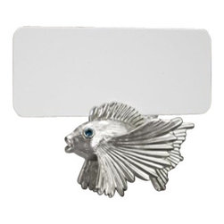 """L'Objet - L'Objet Place Card Holders Fish Platinum and Blue Crystals - L'Objet is best known for using ancient design techniques to create timeless, yet decidedly modern serveware, dishes, home decor and gifts. Platinum Plating and Blue CrystalsMeasurements: 3.5"""" x 5.5""""Includes: Place Cards (set of 25); Refill available. Luxuriously Gift Boxed. Modern in style yet traditional in essence, L'Objet Place Card Holders are an elegant addition to the table. Layered in 24K gold or platinum, the collection is rich in details, including hand-set Swarovski crystals and semi-precious gemstones. Set of 6."""
