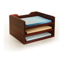Stack & Style Wood Letter Organizer - Mahogany - Paper trays come in a variety of shapes and materials, but perhaps none do it as well as the Stack & Style Wood Letter Organizer - Mahogany. Featuring three stackable trays with bottom edges and routed tops, this handy organizer is made of long-lasting MDF covered in real wood veneers and finished in mahogany.