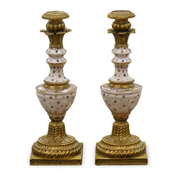 China Furniture and Arts - Hand Painted Porcelain Candle Holders - Superb reproduction of 19th century European candle holders with completely hand painted leaf motif. Enhanced with ormolu style hand forged antiqued brass base and top. Thus, this extraordinary pair provides dramatic lighting and extends the beauty of theirs contents while serving as art mediums unto themselves in any room. Imported from China.
