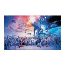 RoomMates - RoomMates Star Wars Saga Chair Rail Mural Multicolor - JL1230M - Shop for Wall Decorations from Hayneedle.com! About Roommates: Roommates a subsidiary of York Wallcoverings Inc creates some of the most versatile and unique wall decor you'll find. Their innovative wall decals feature a removable and endlessly reusable design allowing you to move and rearrange your decals as often as you like all without causing any damage to your walls or furnishings. This means you can apply them without worry or headache since you don't have to get the application perfect the first time. RoomMates work on any smooth surface and are particularly ideal for temporary decorating such as around the holidays. All RoomMates products are proudly made in the USA and are made from non-toxic materials so they're as safe for your kids and pets as they are for your walls.Please note this product does not ship to Pennsylvania.