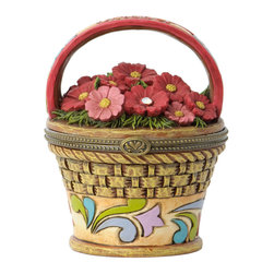 Jim Shore - Cosmos Pot Covered Box - Take floral accent to the next level with this Swarovski-adorned covered box.   Includes box and lid 3.5'' H x 2.75'' diameter Iron / stone resin / Swarovski stone Imported
