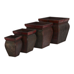 "Nearly Natural - Square Planters with Rim (Set of 4) - If your philosophy is ""More is better"", then this is the vase collection for you. Our set of four Square Vases with Rim is sure to provide a great deal of creative freedom. Place them together for a Russian Doll effect or separately to enhance any room's decor. Decorated with a deep burgundy finish, pressed floral decoration, and accented by a bamboo style rim. Colors: Brown. Height: 9.5-14 in; Width: 6-14 in; Depth: 6-14 in."