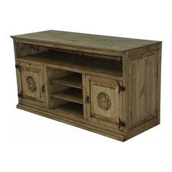 """Rustic Wood Tv Stand With Texas Star Carving - Mexican Rustic, TV Stand. Solid wood and heavy!  Watch your favorite shows atop this rustic furniture beauty.  We have an entire collection of TEXAS STAR furniture.  """"Color may vary slightly"""". A Tres Amigos favorite."""