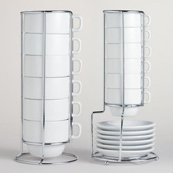 White Stacking Mugs or Espresso Cups, Sets of 6 -