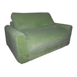 Fun Furnishings - Fun Furnishing Sofa Sleeper with Pillows Green Chenille - The sofa and chair sleepers are the perfect place to sit to read, watch TV or play a game. When it is time to take a nap or find a place for a little friend to spend the night, flip open the chair or sofa, add a blanket and pillow and you are all set. Grandparents love having one at their home too! Built-in Durability We have worked hard to make our furniture durable and help it retain its appearance. We include a layer of fiber on the seating surfaces to keep the fabric tight much longer. Even so, furniture does wear with use. Here are some tips to help you keep it looking good while your kids enjoy it: 1. Jumping on the furniture is safe and a lot of fun, but it will make the piece look tired sooner. 2. Sitting or jumping on the arms of the furniture is not recommended.  3. As a result of acrobatic use the fabric may stretch. You can use a steamer or mister to lightly dampen the fabric with distilled water. As the fabric dries it will shrink slightly and look almost like new again. Cleaning the Cover:  We use only fine upholstery-grade fabrics that can take lots of use from kids. Our Micro Suedes, denims and chenilles are all washable.  But we cannot prevent the covers from getting dirty. Here's what you can do to keep them looking new:  1. Blot up spills immediately. Surface wash any remaining stains with a mild, non-toxic cleaner. Do not rub too hard or use a strong cleaner; you will remove the fabric's finish and possibly some color too. 2. The furniture covers are removable. We recommend dry cleaning to keep the covers looking their best as long as possible. 3. You may apply a scotch-guard type treatment to protect the covers. If you choose to do this always start with a small amount on the bottom of the piece to make certain the fabric will not be damaged. 4. The white bed surface is a poly/cotton blend and can be cleaned with stronger stain removers. Slipcover Removal Instructions 1.
