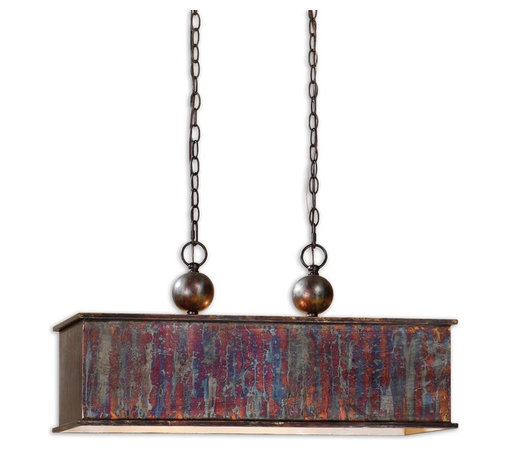 Uttermost - Albiano Rectangle 2 Lt Bronze Pendant - You don't have your very own metal working studio? No matter. It's too hot and messy anyway. But this pendant, with its metallic oxidation and antiqued silver accents, makes you look like you know style when you see it.