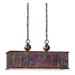 Uttermost - Albiano Rectangle 2-Light Bronze Pendant - You don't have your very own metal working studio? No matter. It's too hot and messy anyway. But this pendant, with its metallic oxidation and antiqued silver accents, makes you look like you know style when you see it.