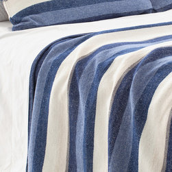 """Pine Cone Hill - PCH Montego Stripe Indigo Chenille Blanket - The PCH Montego blanket delivers a casual yet contemporary design. Soft and sophisticated, this chenille throw features a modern indigo blue and cream striped pattern.  100% cotton; Professional cleaning recommended; Available in twin, full/queen and king sizes; Designed by Pine Cone Hill, an Annie Selke company Twin: 68""""W x 88""""H; Full/queen: 88""""W x 88""""H; King: 102""""W x 92""""H"""