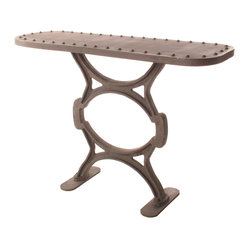 Kathy Kuo Home - Textile Mill Riveted Top Cast Iron Console - The fanciful design of this riveted iron console marries industrial style with a bit of whimsy. Adding more visual interest, the cast iron base is more narrow than the heavy-duty console top, but its cast iron construction provides more than adequate support. Perfect for your urban living space.