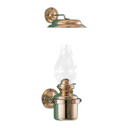 Weems & Plath Gimbal Oil Lamp w/ Smoke Bell - Solid brass, polished and lacquered. Heavy base. Mounting with gimbal bracket. Oil container capacity: 12 oz. Burn time: +/- 24 hours with clean burning lamp fuel. It weighs 3.4 lbs.