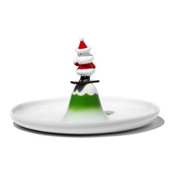 """Alessi - Alessi """"Scia Natalino!"""" Pastry Plate - You better watch out. Santa Claus is coming to chow down. This cute stoneware platter features a hand-decorated, skiing Nick handle in the center of a rimmed tray ready to hold candies, pastries or appetizers at your holiday function. Check this one off your list."""