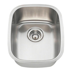 """MR Direct - MR Direct 1815 Stainless Steel Bar Sink, Brushed Satin, 18 Gauge - The 1815 stainless steel undermount bar sink makes a great addition to your small kitchen or bar area. Constructed from 304 grade stainless steel, the single bowl 1815 is available in your choice of 18 or 16 gauge thicknesses. The 1815 has a brushed satin finish to help mask small scratches that occur over time and keep your sink looking beautiful for years. The overall dimensions of the sink are 15 1/4"""" x 19"""" x 7"""" and a 15"""" minimum cabinet size is required. This sink contains a 3 1/2"""" offset drain, is fully insulated and comes with sound dampening pads. As always, our stainless steel sinks are covered under a limited lifetime warranty for as long as you own the sink.  Strainers not included."""
