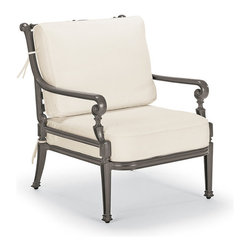 Frontgate - Carlisle Outdoor Lounge Chair with Cushions in Gray Finish - Fine-furniture design. 100% ingot aluminum, a premium quality material. Hand-filed welds. Rich, multilayered slate finish with UV protected top coat. Cushions included. Our Carlisle Slate Lounge Chair's impeccable, grandly scaled cast-aluminum frame is crafted to stand the test of time. Fine furniture details such as scrolling arms and crisscrossing backs are in a rich, multilayered onyx finish. Premium 100% solution-dyed fabrics encase the seat and softly rounded back cushions. Part of the Carlisle Slate Collection.  .  .  .  .  . 100% solution-dyed and woven fabrics . All-weather cushions have a high-resiliency foam core wrapped in plush polyester . Cushions also available with 100% waterproof Sunbrella Rain performance fabric.
