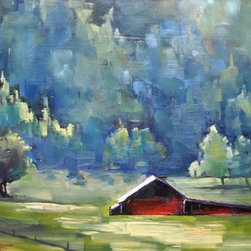 Mountain Farm by Carol Schiff (Original) by Carol Schiff - We often visit the Blue Ridge Mountains of North Carolina in the summer.  This beautiful scene is just down the road from our house.  I have painted this barn from every angle, but this piece is my favorite.