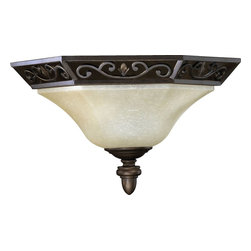 Quorum Lighting - Quorum Lighting Marcela Traditional Wall Sconce X-68-1375 - From the Marcela Collection, this Quorum Lighting flush mount ceiling light features an angular hexagonal-shaped base with trim that features elegant scrolling details. An Oiled Bronze finish draws attention to these European inspired details while a beautiful diffuser pulls the look together.