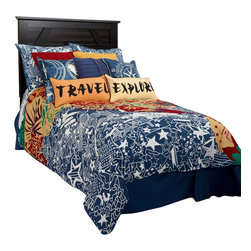 Rizzy Home - Travel and Explore Navy Full Size Kids Bed Skirt - Travel and Explores tailored bed skirt complements and completes your bedding ensemble.  The solid navy really helps make the comforter pop and really change the look of your bedroom.
