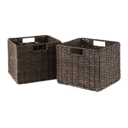 Winsome Wood - Granville 2 Piece Small Corn Husk Foldable Baskets - Our Granvill Corn Husk Small Baskets comes in set of 2 small foldable baskets that are made of Corn Husk in chocolate color. This baskets will suits to any of your home corner.