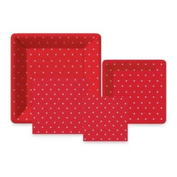 Design Design - Design Design Swiss Dots Red Collection Tableware Entertaining Kit - Everything you need to serve festively with easy clean up. The Swiss Dots Red Paper Tableware Entertaining Kit has 1 package each of dinner plates, dessert plates, luncheon napkins, and beverage napkins.