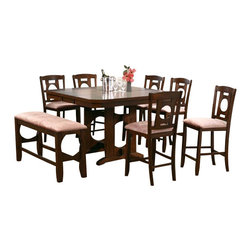 "Acme - 8-Piece Naldo Collection Style Dark Walnut Finish Wood Counter Height Dining Set - 8-Piece Naldo collection contemporary style dark walnut finish wood counter height dining table set with fabric padded seats. This set features a counter height table with contemporary styling, 6 - side chairs with and a bench with fabric padded seats. Table measures 54"" W x 42"" (54"" with 1 - 12"" Butterfly leaf included) x 36"" H . Chairs measure 24"" H seat height. Bench measures 48"" x 16"" x 26"" H. Some assembly required."